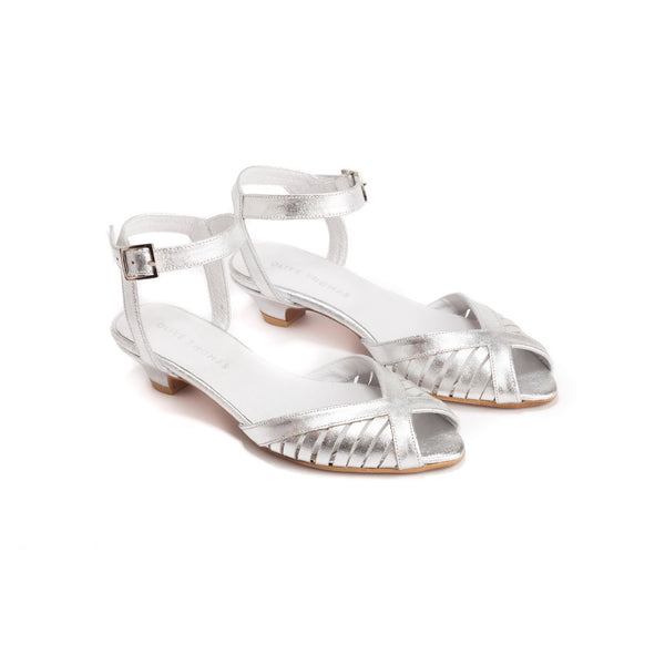 Silver Low Heel Sandals - Melanie