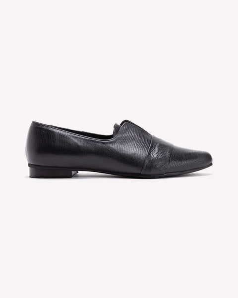 Nora - Black Leather Loafers - Olive Thomas