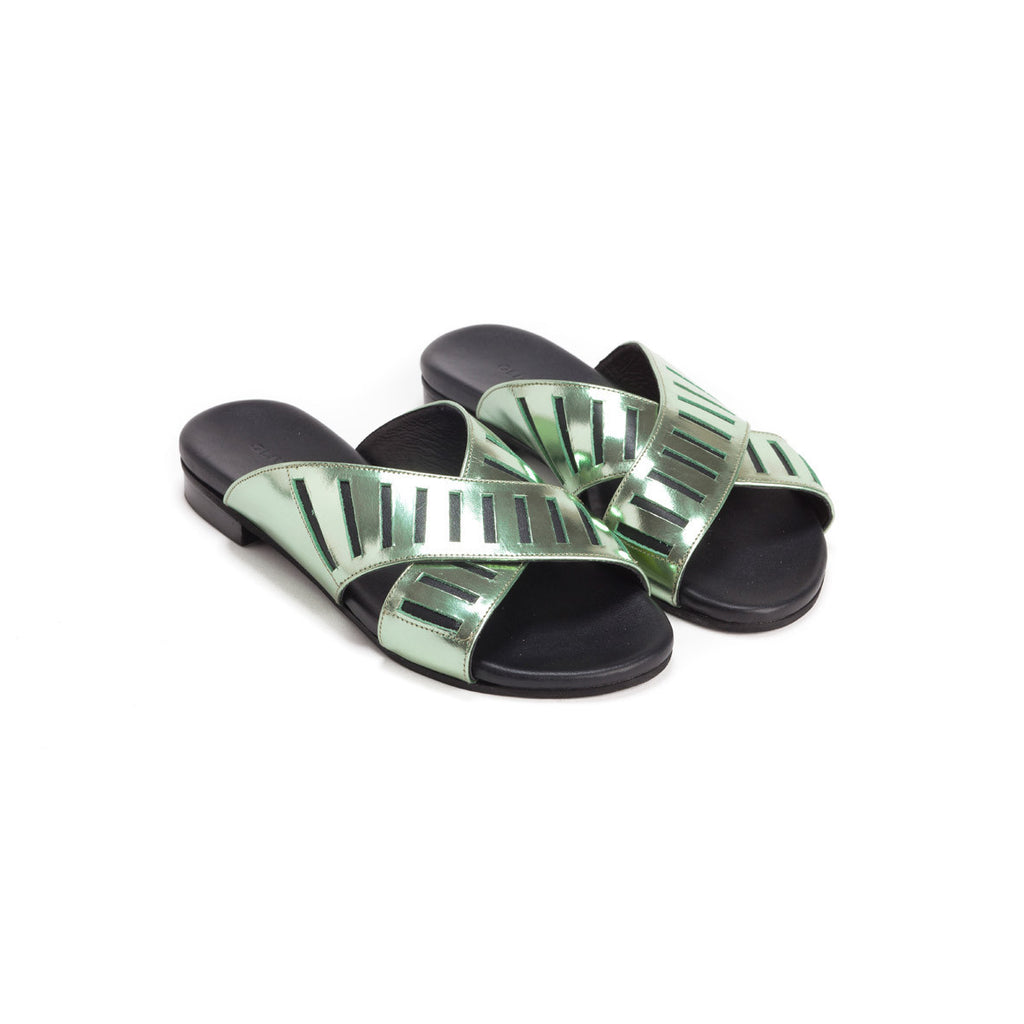 Metallic  Crossover Slides - Rihanna