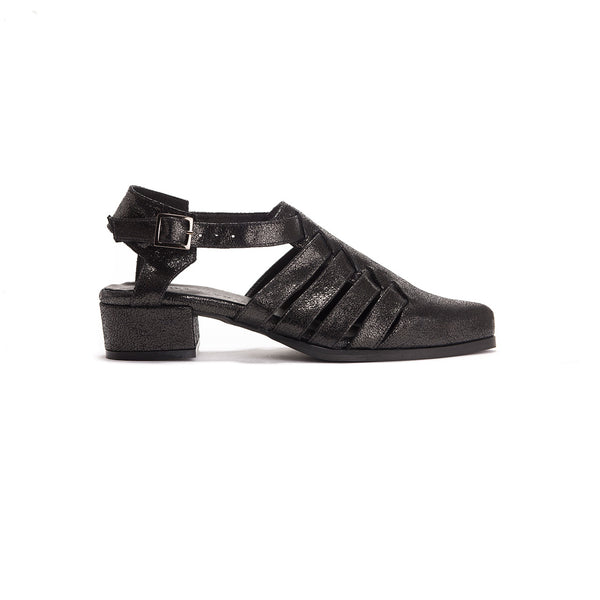Rosie - Black Leather Sandals