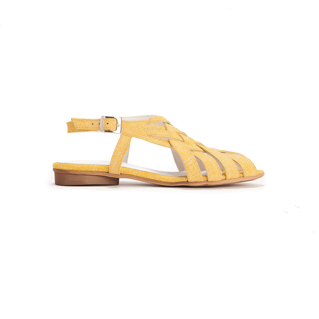 Saidy - Yellow Woven Sandals