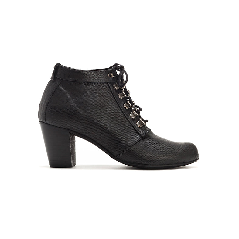 Black Heeled Lace Up Boots - Tom