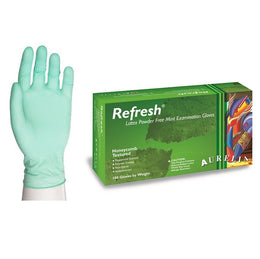 1000 x Green 5 mil Latex Gloves (Aurelia Refresh) (10 Boxes)