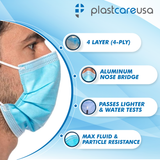 4-Ply ASTM Level 3 Surgical Masks (Blue) by PlastCare USA
