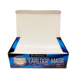 1000 x White Disposable Ear Loop Face Masks (20 Boxes of 50)