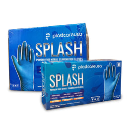 2000 x Blue Nitrile Exam Premium Gloves (Powder & Latex Free), PlastCare USA Splash