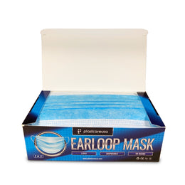 1000 x Blue Disposable Ear Loop Face Masks (20 Boxes of 50) by PlastCare USA (Daily Deal)