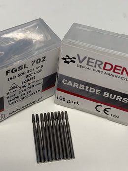 100 x FG 702 Surgical Length Carbide Bur, 25mm (High Speed)