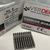 100 x RA #8 Round Carbide Burs, 22mm (Latch, Low Speed)