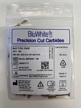BluWhite Carbide Bur FG 557 Straight Flat End Cross Cut Fissure 100/pack