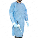 10 Blue Disposable Isolation Lab Gowns with SMS Knitt Cuffs for Medical Dental Hospital by PlastCare USA