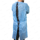 50 Blue Disposable Isolation Lab Gowns with SMS Knitt Cuffs for Medical Dental Hospital by PlastCare USA