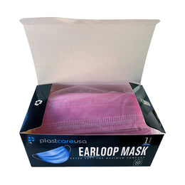 Pink ASTM Level 1 Surgical Earloop Face Mask By PlastCare USA (Box of 50)