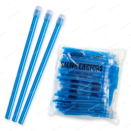 100 x Blue Clear Saliva Ejectors (1 Bag) by PlastCare USA