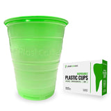 1000 Green Plastic Disposable Ribbed Drinking Dental Cups, 5 Oz by PlastCare USA