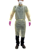 10 Yellow 20g PP Disposable Isolation Lab Gowns with Knitt Cuffs for Medical Dental Hospital by PlastCare USA