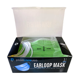 Green ASTM Level 1 Surgical Earloop Face Mask By PlastCare USA (Box of 50)