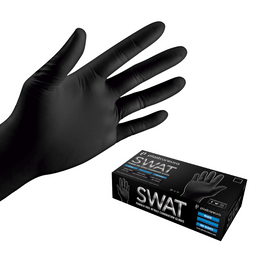 LARGE Black Nitrile Disposable Tattoo Food Work Cleaning Powder Free Gloves (Box of 100)