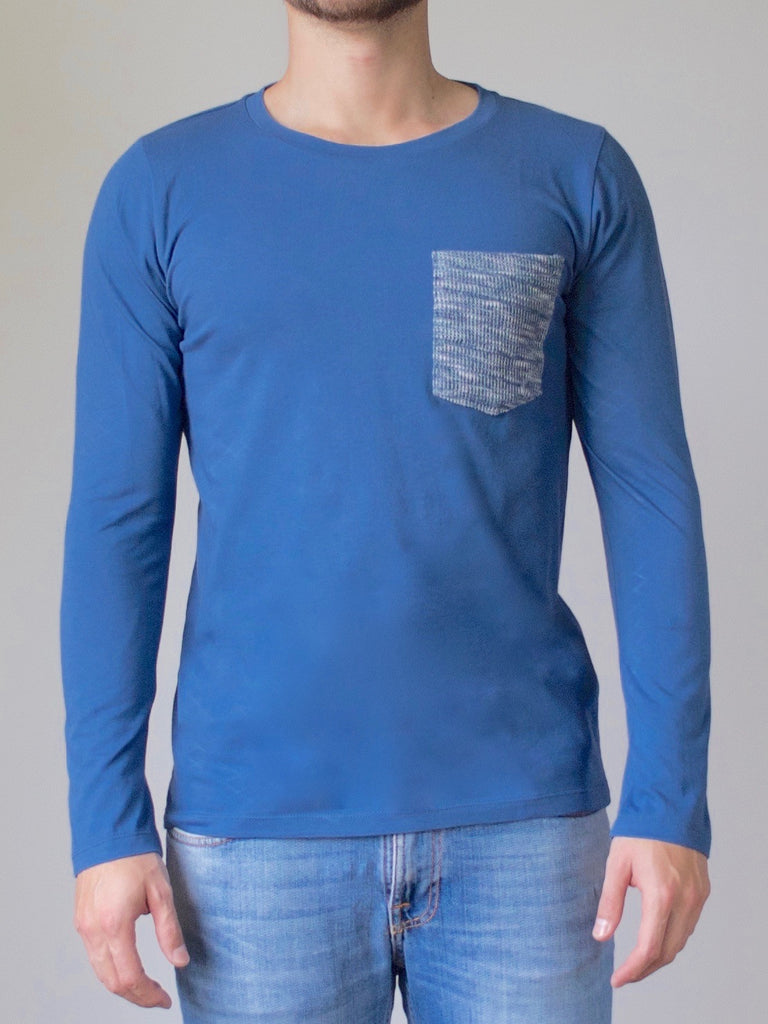 Mens Long Sleeve Top (Ocean Blue)