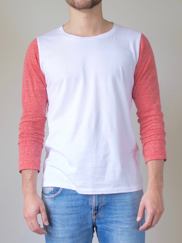 Mens Long Sleeve Top Red/White