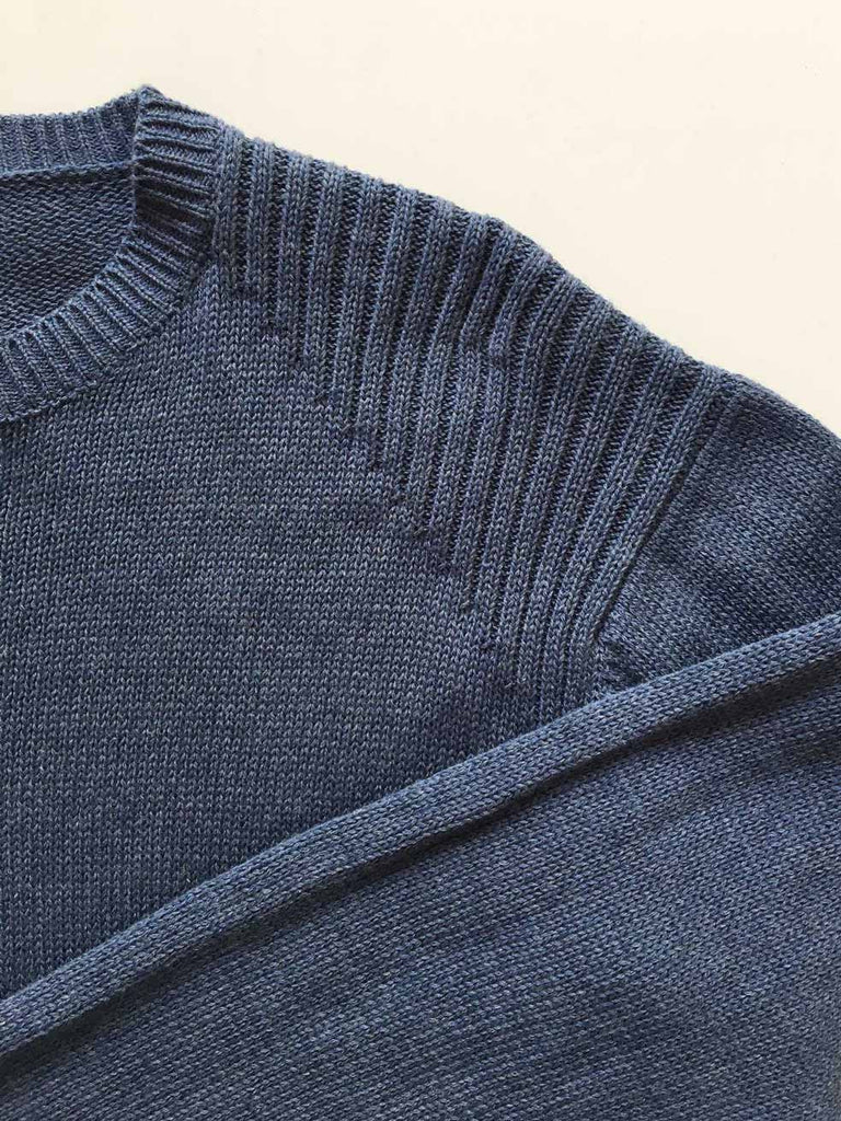 Men's Shoulder Rib Knit Sweater (Aztec Blue)