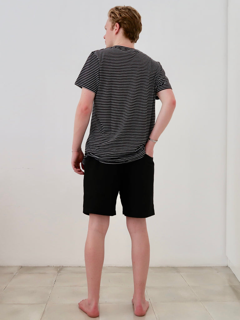 Men's Classic T-shirt (Black White Stripe)