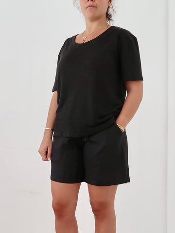 Women's Linen Shorts (Black)