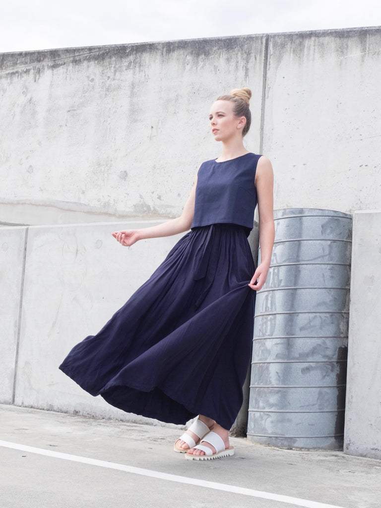Women's Bamboo Maxi Skirt - Navy