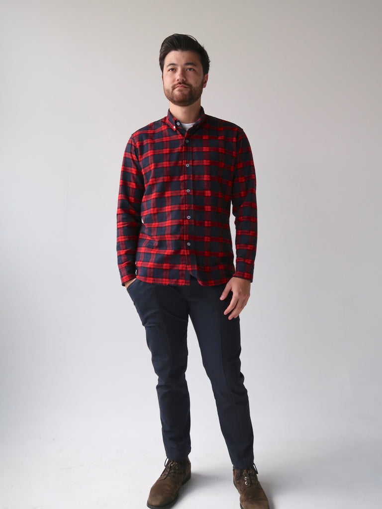 Men's Flannel Shirt - Red Plaid