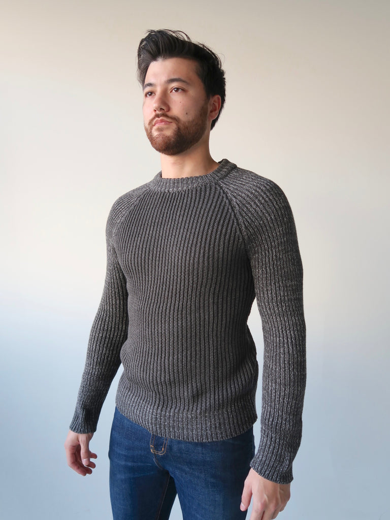 Men's Raglan Knit Sweater - Charcoal