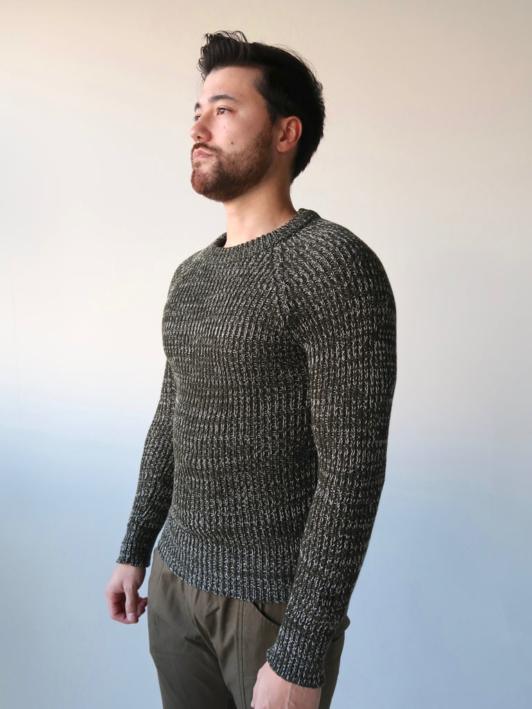 Men's Raglan Knit Sweater - Forest Green