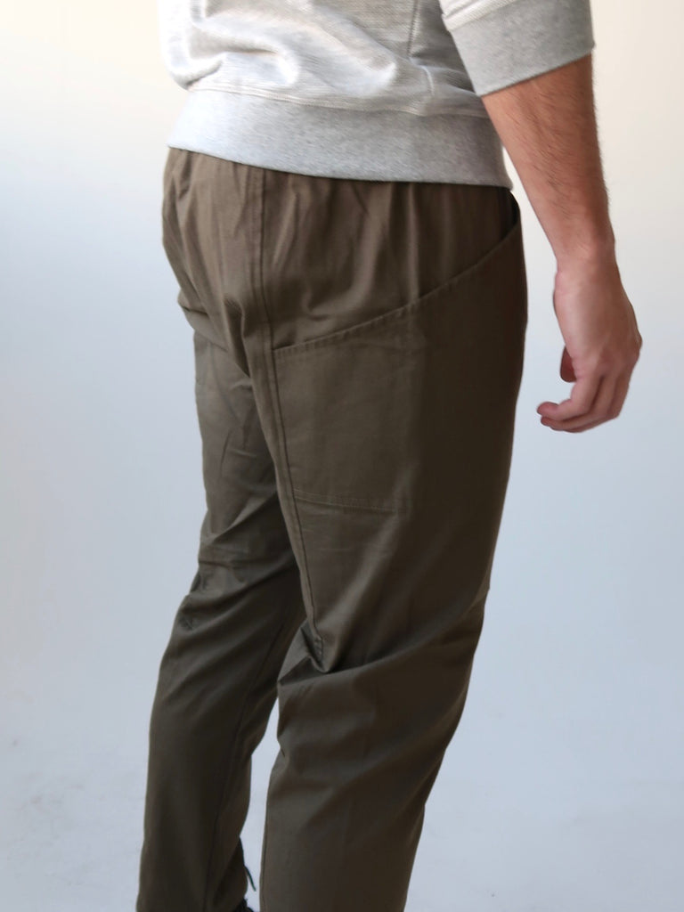 Men's Elastic Waist Panel Pants - Khaki