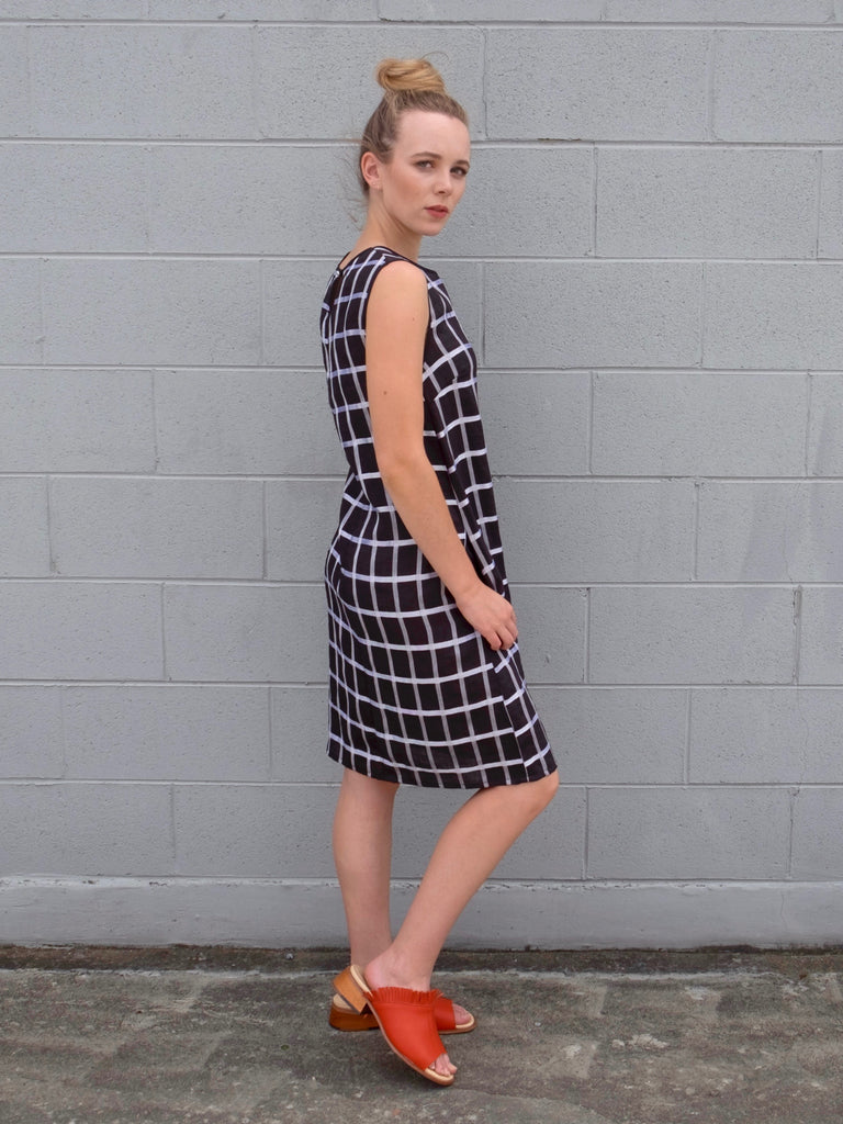 Women's Shift Dress -  Linen Check
