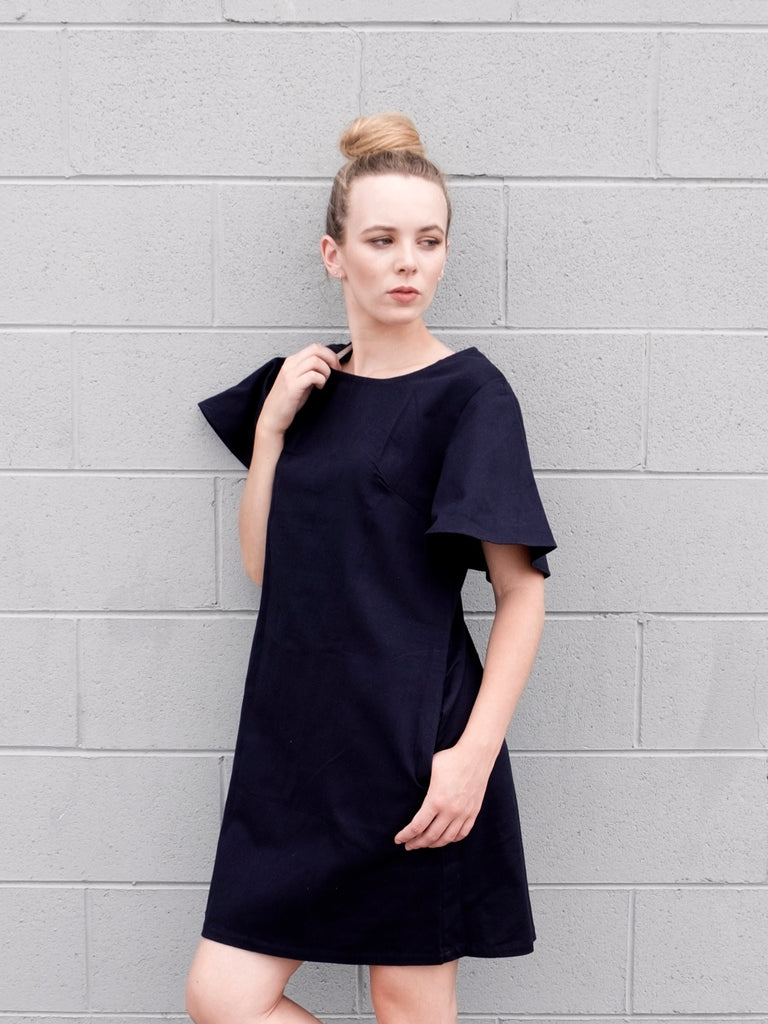 Women's Shift Dress Flare Sleeves - Cotton Navy