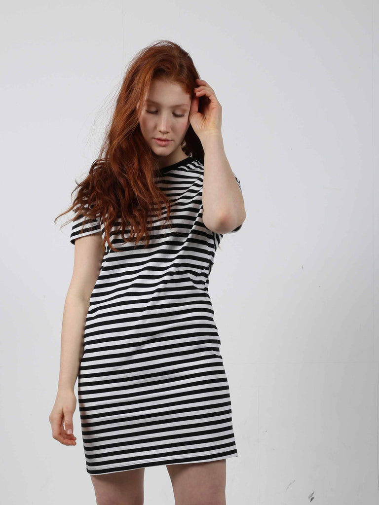 Black and white striped t-shirt dress