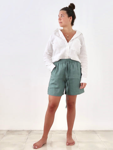 Women's Linen Shorts (Green)