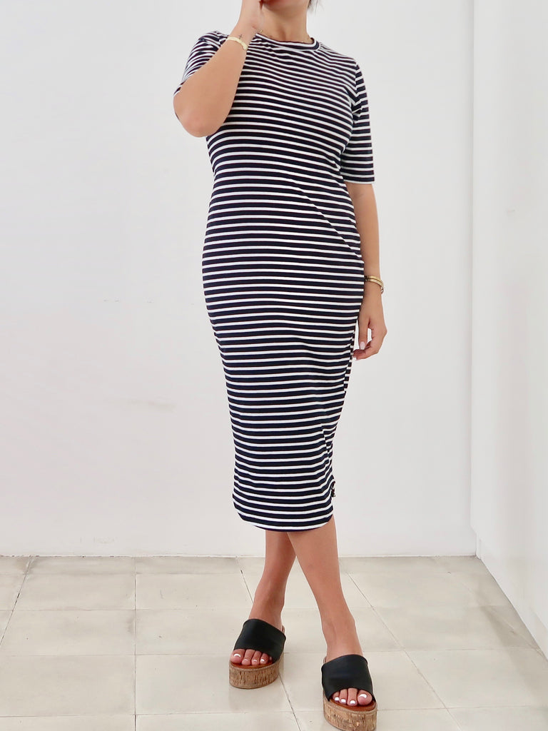 Women's T-shirt Dress (Navy White Stripe)