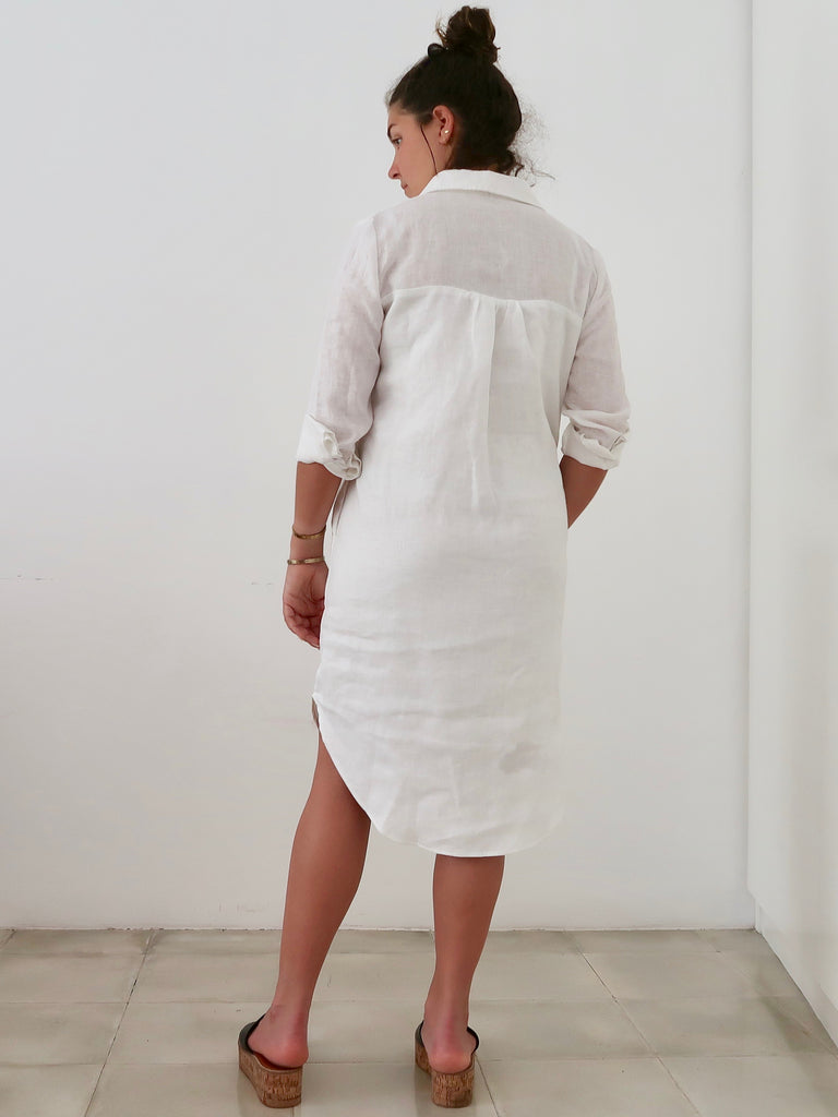 Women's Linen Shirt-dress (White)