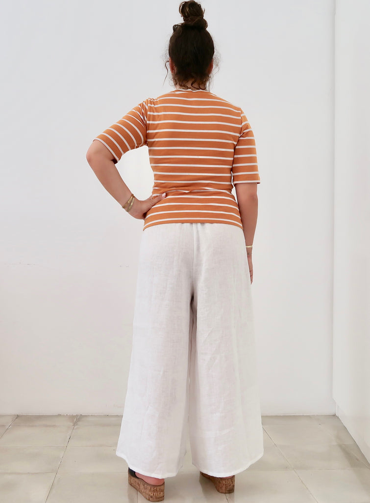 Women's Slim T-shirt (Mustard White Stripe)