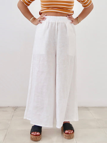 Women's Tapered Linen Pants (Stripe)