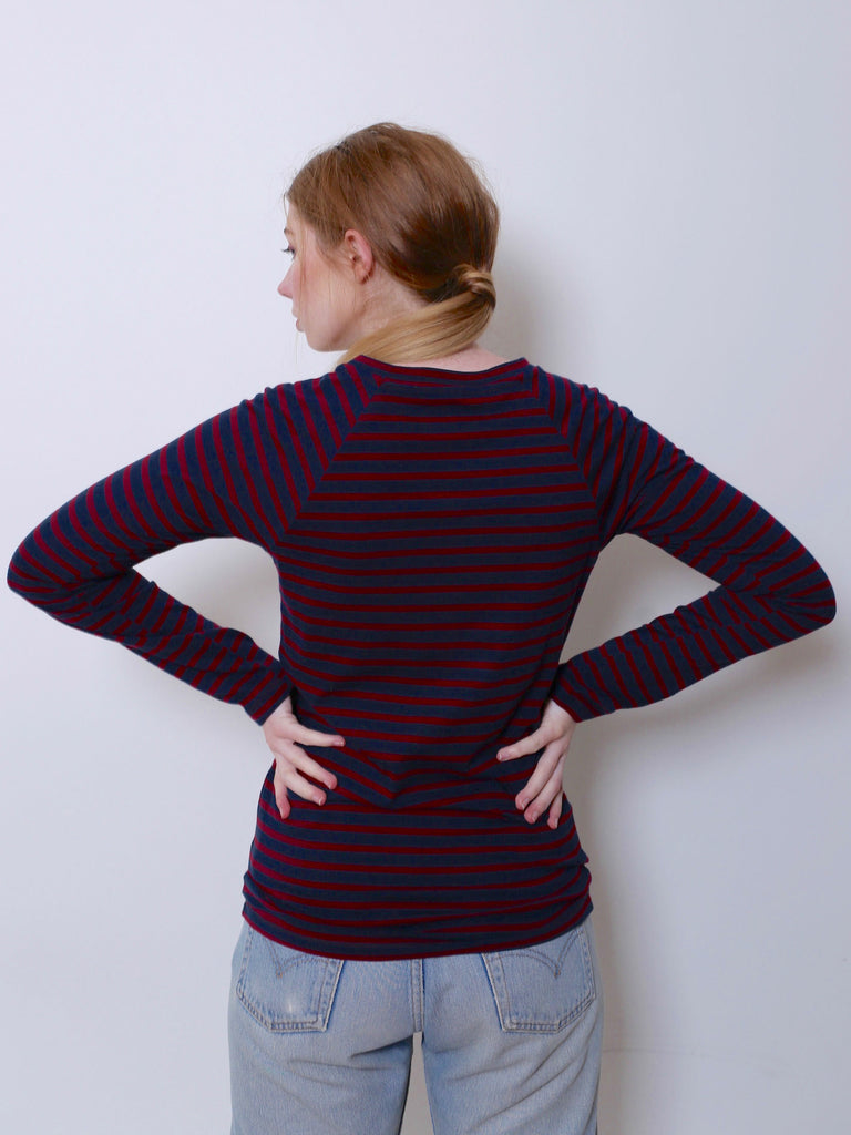 Women's Raglan T-shirt (Navy/Burgundy Stripe)