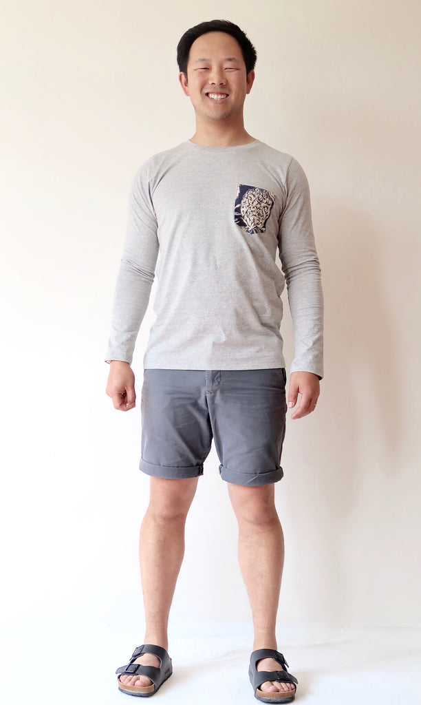 Men's Long Sleeve T-shirt with Pocket (Grey)