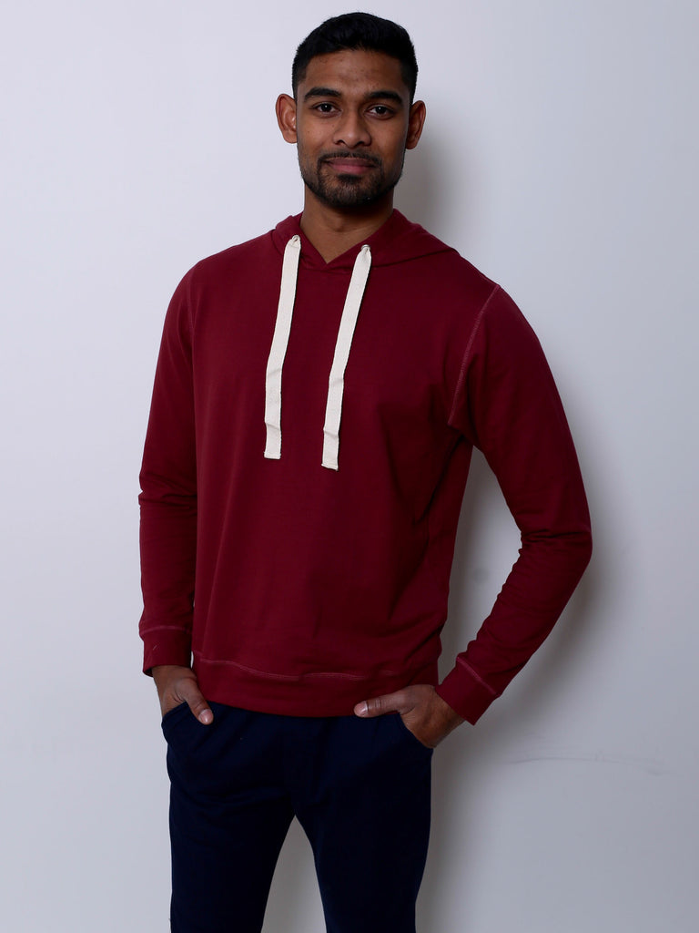 Men's Cotton Jumper with Hood (Burgundy)