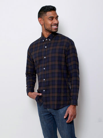 Men's Flannel Shirt - Green Plaid