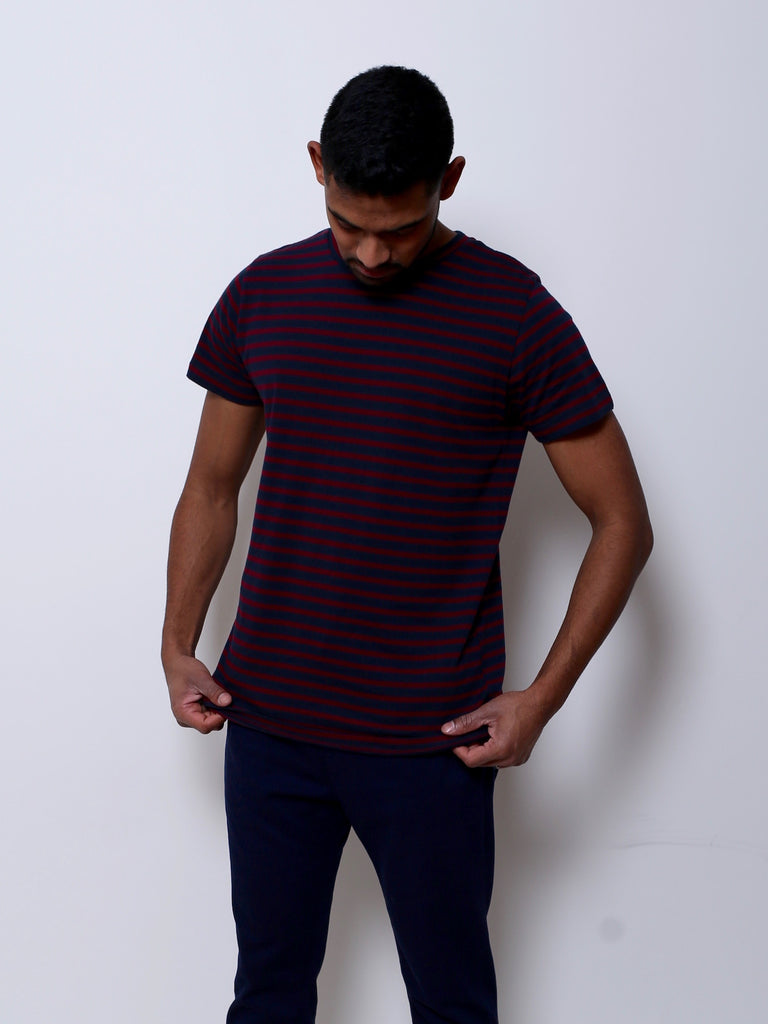 d87e06a01e1b Men's Cotton T-shirt (Navy/Burgundy) – Theo the Label