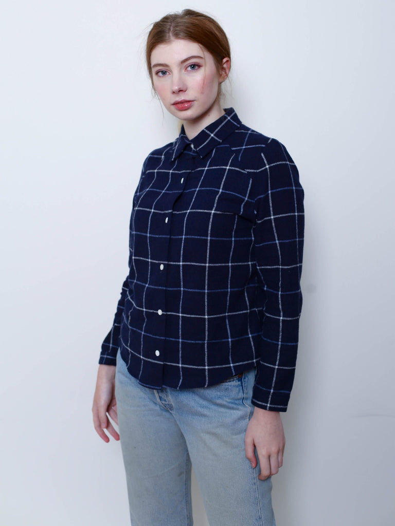 Women's Flannel Shirt (Navy Plaid)