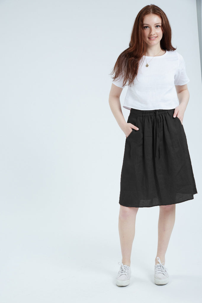 Women's Linen Skirt (Black)
