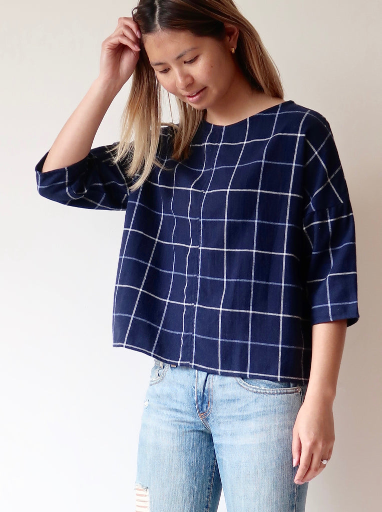 Women's Scoop Top - Navy Plaid