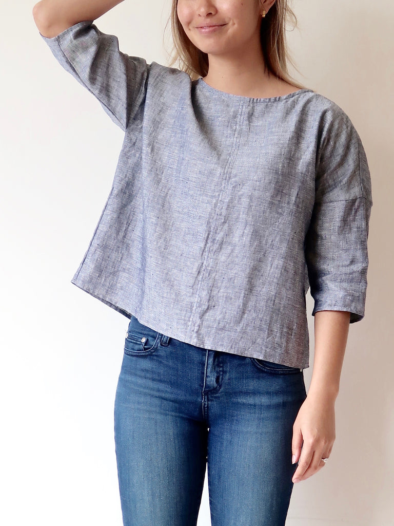 Women's Linen Scoop Top - Blue