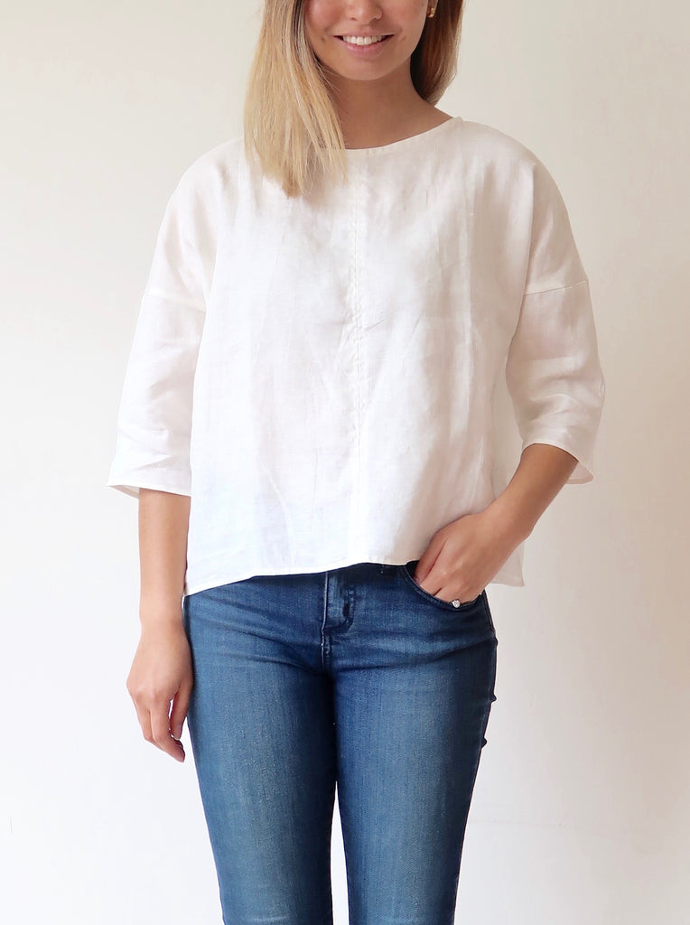 Women's Linen Scoop Top - White